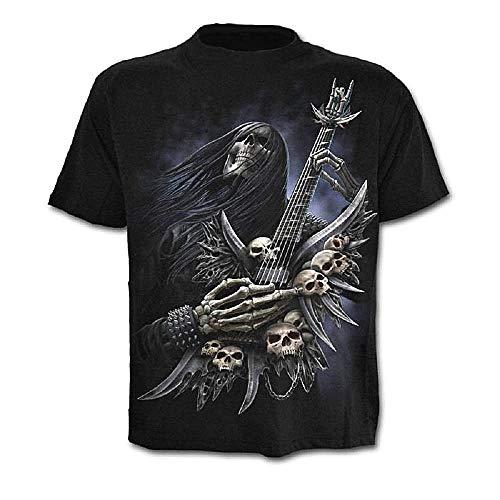 Camiseta de Hombre Calavera - gótica - Rock - Punk - Oscura - Divertida - Metal - Biker - Manga Corta - niño - Guitarra - Halloween - Color Negro - Talla XL