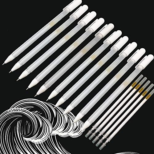 Weißer Gelstift, 10 Stück Künstler Weißer Stift mit 5 Ersatzminen für Schwarzes Papier, 0,8 mm Feine Spitze Weiß Gelschreiber zum Zeichnen Highlights Outline Skizzieren Kunstdesign