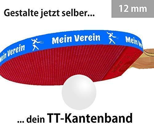 3 STK. Tischtennis Kantenband 12 mm blau mit eigenem Text