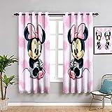 Mick-ey Mou-se Cortina extralarga, 114,3 cm de largo, Mickey Minnie Mouse para niñas habitación oscura, 163 cm de ancho x 45 cm de largo