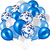 Blue and White Balloons, Blue Confetti Balloons...