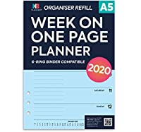 NBplanner®2020 Week on One Page Diary Organizer Refill Planner Insert Filofax Compatible Blue(A5:148 x 210 mm)