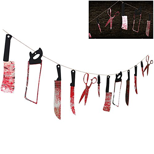 Librao Halloween Decorations 12 Hanging Bloody Weapons Garland Pennant Banner Party Haunted House Prop