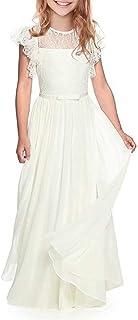 CDE Boho Lange Kinder Spitzenkleid Chiffon Kleid mit Gürtel und Kurzen Butterflyrmeln/Vintage Chic A-Linie Kommunionkleider Brautjungfern Kleider, 10, Weiß