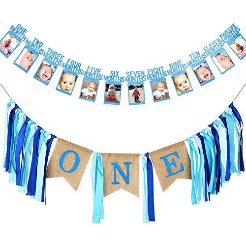 Amazon Com 12 Month Photo Banner First Birthday Decoration Photo Banner For First Birthday Party Toys Games