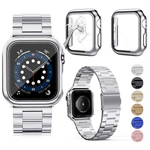 OMEE Correa de Metal para Apple Watch Correa 44mm 40mm 42mm 38mm, Correa de Repuesto de Metal de Acero Inoxidable Premium, Correa Comercial Compatible con iWatch Series 6/5/4/3/2/1, SE(38mm, Silver)