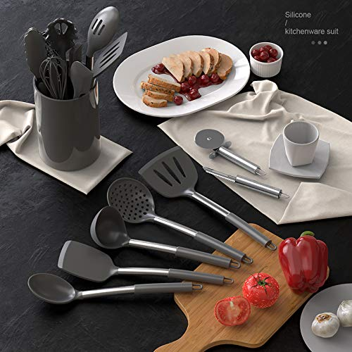 Silicone Cooking Set – Heat Resistant,Turner Tongs,Spatula,Spoon,Brush,Whisk,Pizza Cutter,Graters.Gadgets.Gray Cooking Utensil for Nonstick Cookware.Dishwasher Safe.