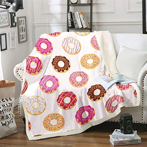 Manta de forro polar para niña, linda donuts de sherpa para niños y niñas, chocolate con rosquilla, decoración rosa, manta para sofá cama, tamaño King de 87 x 94 pulgadas