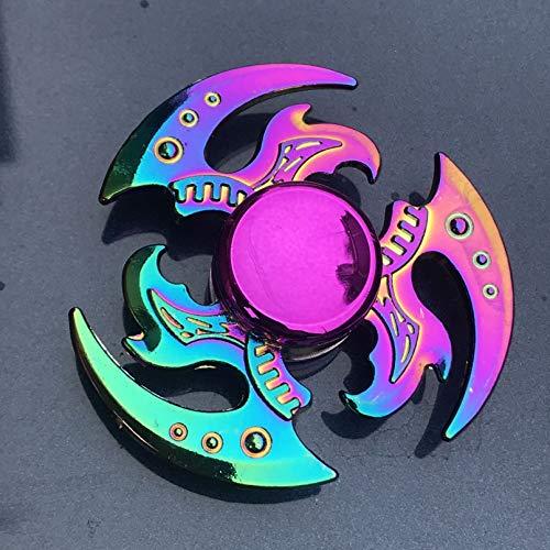 JLZK Colorido aleación de Metal Fidget Spinner rodamiento Suave Mute Rainbow Hand Spinner Juguetes para aliviar el estrés para niños Regalos para Adultos