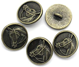 PEPPERLONELY Brand 10PC Antiqued Bronze Round Horse Scrapbooking Sewing Buttons 15mm (Approximately 5/8 Inch)