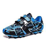 CERYTHRINA Chaussures de Football Enfant Garçons Filles TF FG/AG Chaussures de Football en Plein Air Adolescents Légères Chaussures d'Entraînement Professionnelles Compétition Athlétisme Bleu 28