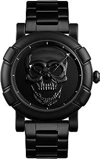 ALCADAN Watch,Mens Fashion Large Face Skull Watch Stylish Cool Stainless Steel Waterproof Watch for Men SK 9178