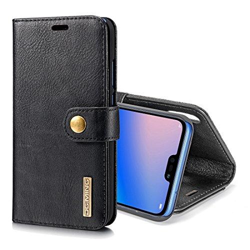Delanshi mobiele telefoon, compatibel met Huawei P20 Lite, schokbestendig, achterkant van het paard met magnetische lederstructuur, afneembaar, met houder