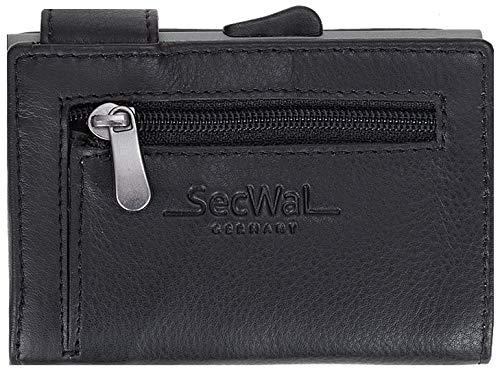 SecWal Kartenetui Leder Secwal Geldbörse Smart Mini Alu RFID Schutz + Etui (Schwarz (RV SW1 01))