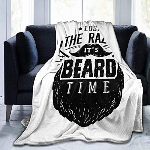 Ahdyr Manta de Franela Anti-Pilling It 's Beard Time Manta de Franela de Lujo Tres tamaños Manta de Microfibra de Terciopelo de Felpa para Todas Las Estaciones 60x50 Pulgadas