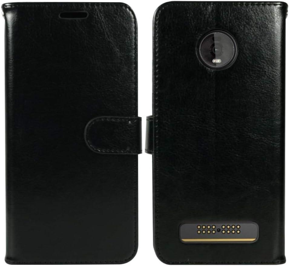 Zase Motorola Moto Z4 Case, Moto Z4 Professional Design Wallet Pouch Slim Folio PU Leather Flip Cover w/Kickstand Card Slot Wrist Strap Compatible for Moto Z4 5G Verizon (Luxury Black)