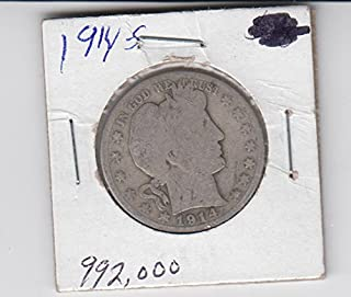 1914 S Barber Half Dollar Silver Coin Circulated Half Dollar About Good
