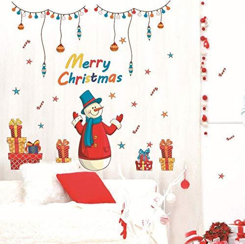 Wandtattoo Weihnachtsschneemann Wandtattoo Weihnachtsschneeflocke Weihnachtsshop Ladeneinheit Glasfensteraufkleber SK909160 * 90cm
