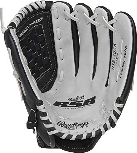 Rawlings Softball Series Glove, Basket Web, 12 inch, Left Hand Throw, RSB120GB-0/3,Black/Gray