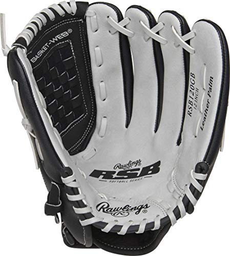Rawlings Softball Series Glove, Basket Web, 12 inch, Right Hand Throw, Black/Gray