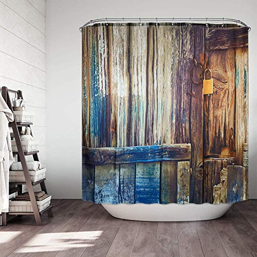 Cosmo Supply - Rustic Farmhouse Shower Curtain Set - Barn Door Pattern – Shabby Chic Bathroom Decor - Vintage Country Shower Curtain - Old Wooden Door – Antique Rural Americana - Brown - Blue