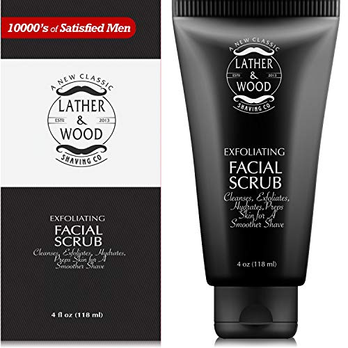 Best Face Wash for Men - Lather & Wood's Face Scrub - Luxurious Exfoliating Mens Face Wash for...
