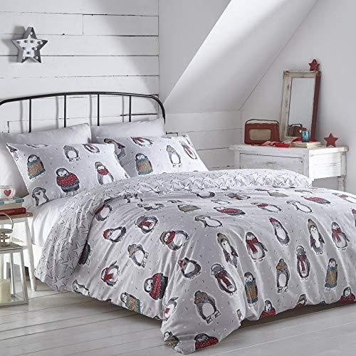 Portfolio Snowy Penguins Duvet Cover Reversible Bed Set, Grey, Double