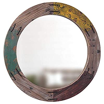 """Barnyard Designs Decorative Round Wall Hanging Mirror, Rustic Farmhouse Wall Decor for Home, Bathroom or Vanity, Large Wood Frame Circle Mirror, 34.5"""" x 34.5"""""""
