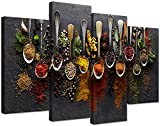 4 Piece Framed Kitchen Wall Art Prints Decor Colorful Spices in Spoon Canvas Art Food Wall Art Framed Spices Wall Decor Stretched Ready to Hang for Kitchen Decor (48''W x 32''H)