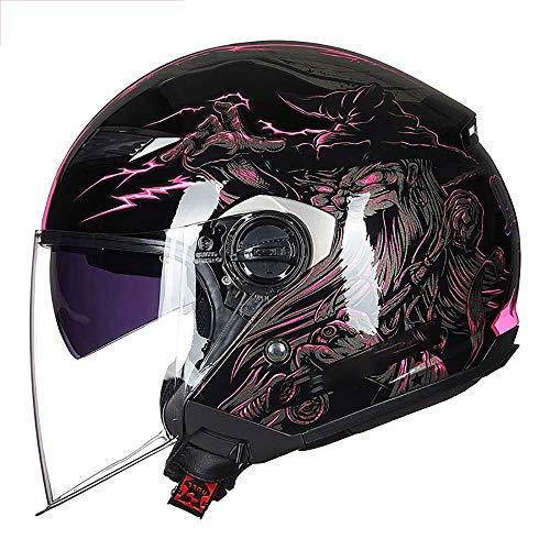 DLPAC Retro Harley Casco Abierto Casco De La Motocicleta Casco Ligero Y Transpirable De Protección UV Motor Casco Moto Abierto, Vintage Brain-Cap para Hombres Mujeres