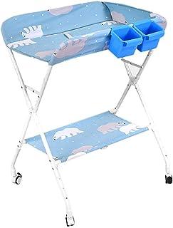 Baby Changing Table Massaging Units, Folding Infant Diaper Station Nursery Organizer - Cross Leg Style (Color : Light blue)