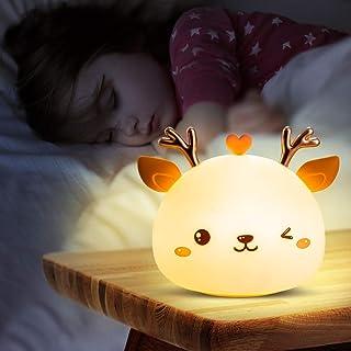 Veilleuse Enfant,Veilleuse Bebe Fille Cerf,Veilleuse Prise Electrique Led Rechargeable,Lampe Portable Multicolore Chambre,...