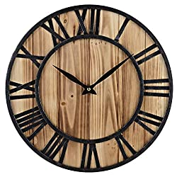 Red Oak 16-Inch Rustic Vintage Metal & Wood Silent Non-Ticking Decorative Wall Clock with Large Roman Numerals