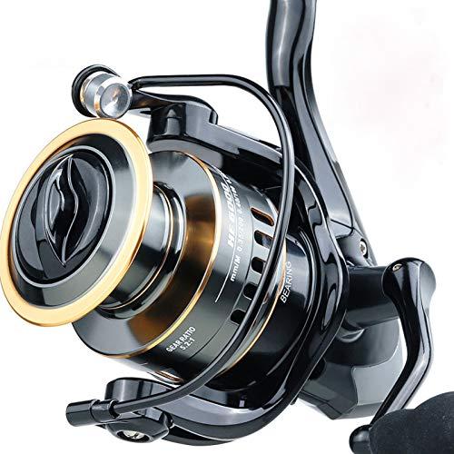 Huhan, mulinello rotante da pesca, rapporto di peso 5,2:1, resistenza massima 10 kg, bobina in metallo ad alta velocità, adatto per pesca d'acqua dolce e salata