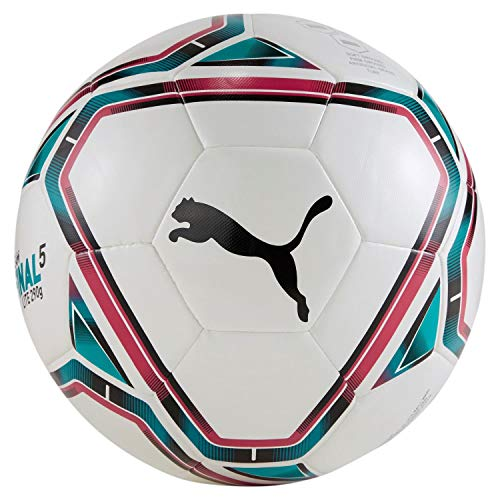 Puma teamFINAL 21 Lite Ball 290g, Pallone da Calcio Unisex-Adult, White-Rose Red-Ocean Depths Black, 5