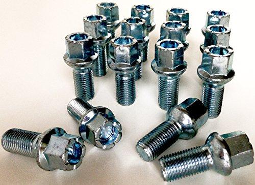 Lot de 16 boulons de roue en alliage M14 x 1,5 filetage 27 mm de long, rayon de siège, 17 mm hexagonal convient pour Audi