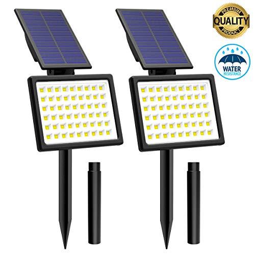 54 Led Faretti Solari da Giardino T-SUNRISE Lampada solare da esterno Luci Solari da Esterno impermeabile IP65 wireless con 2 modalità di illuminazione 2Pack (3500K)