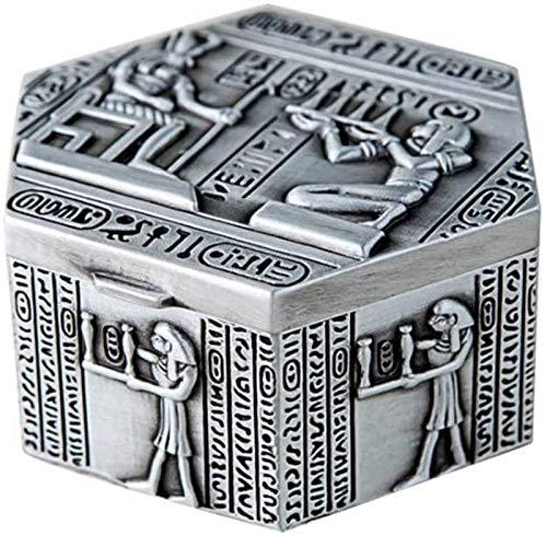 GIAOYAO Jewellery Box Organiser Zinc Alloy Jewelry Box Egyptian Style Vintage Jewelry Box Small Ring Storage Box for Girls Ladies Women