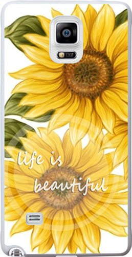 Note 4 Case Life Words Sunflower - Case for Galaxy Note4 - Protector Cover Compatible for Samsung Note 4 - Life is Beautiful (Slim Flexible TPU Protective Silicone)