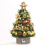 Petit arbre ensemble décoration de bureau à la maison de Noël, équipé de lumières LED et décorations diverses, le meilleur cadeau de Noël décoration de bricolage (Color : Gold, Size : 60cm)