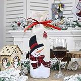 HZY Cadeaux De Décoration De Noël Paquet De Sacs en Toile De Jute avec Sacs à Vin avec Cordon pour Bonhomme De Neige Bouteille De Vin Rouge De Noël,Burlap Bottle Set Snowman