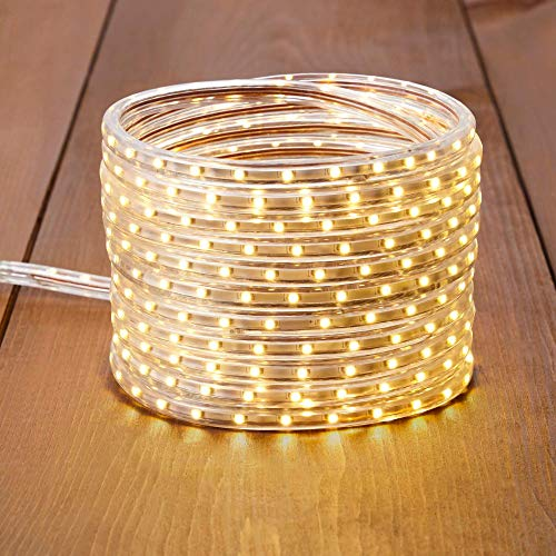 NOMA 23 Ft. LED Rope Light | Holiday Christmas Lights | Waterproof Indoor/Outdoor | 330 Clear Warm Bulbs