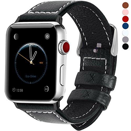 Fullmosa kompatibel mit Apple Watch Armband 42mm 44mm,Leder Uhrenarmband Serie5 4 Ersatzarmband für iWatch Band iwatch Series 5/4/3/2/1,Schwarz 42mm