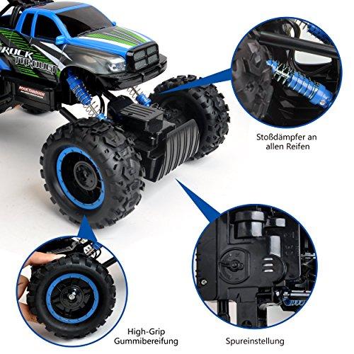 RC Auto kaufen Monstertruck Bild 6: Maximum RC Ferngesteuertes Auto für Kinder - 4WD Monstertruck - XL RC Auto für Kinder ab 8 Jahren - Rock Crawler (blau)*
