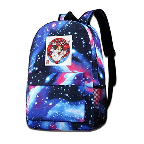 Warm-Breeze Galaxy Printed Shoulders Bag Dies ist Purr Kour Cat Parkour Freilaufende Mode Casual Star Sky Rucksack für Jungen und Mädchen