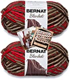 Bernat Blanket Yarn - Big Ball (10.5 oz) - 2 Pack with Patterns (Raspberry Trifle)