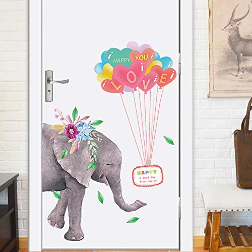TAOYUE Cartoon Olifant en Ballonnen Muursticker voor Baby Kids Kamer Slaapkamer Home Decoraties Behang Mural Kwekerij Deur Stickers