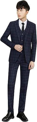 Andopa Formelle Plaid 3 pièces Tuxedo Blazer Veste Pantalon Gilet Set Pour Homme