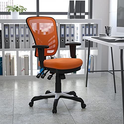 Flash Furniture HL-0001-OR-GG: Mid-Back Orange Mesh Multifunction Executive Swivel Ergonomic Office Chair W/Adjustable Arms