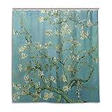 CPYang Duschvorhänge Kunst Gemälde Van Gogh Blume Wasserdicht Schimmelresistent Badevorhang Badezimmer Home Decor 168 x 182 cm mit 12 Haken